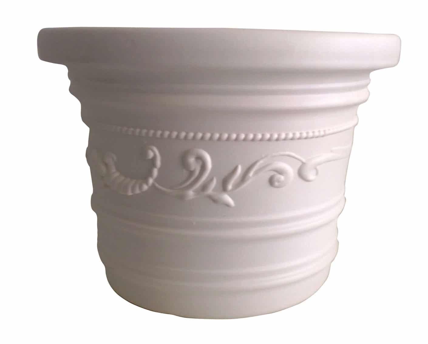 Vaso bianco in resina festonato sottovaso cm 35 40 for Vasi rettangolari plastica
