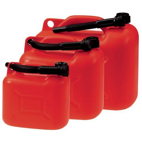 Plastic jerry cans for petrol